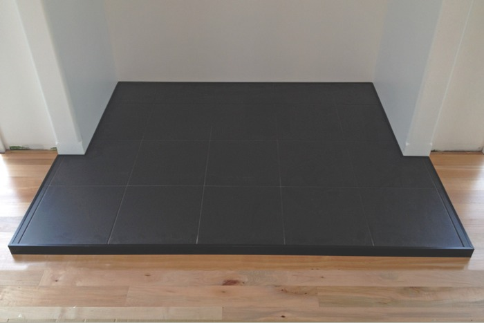 Matt black, wall hearth, black metal trim